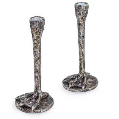 Antique Silver Bird Leg Candlesticks Set of 2