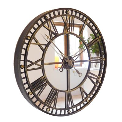 Antique Brass Mirror Roman Skeleton Wall Clock