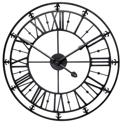 Black Roman Iron Skeleton Wall Clock