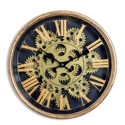 Black and Gold Moving Gears Wall Clock