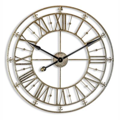 Champagne Silver Iron Skeleton Wall Clock