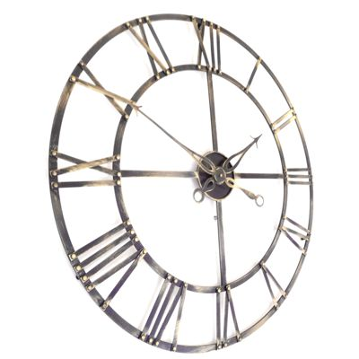 Large Roman Antique Brass Skeleton Wall Clock