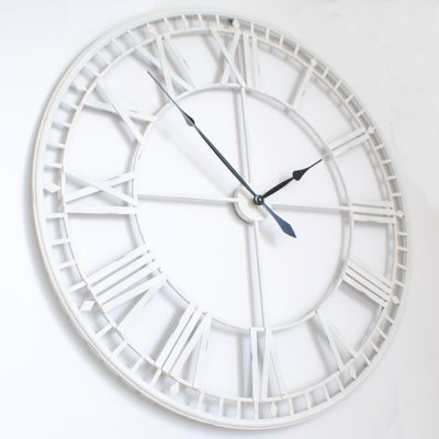 Large Roman Big VintageWhite Skeleton Wall Clock