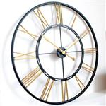 Large Roman Gold and Black Skeleton Wall Clock