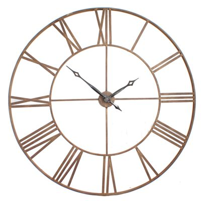 Roman Big Vintage Bronze Skeleton Wall Clock