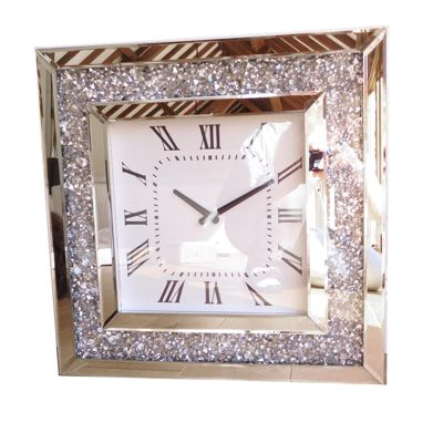 Bevelled Mirror Crushed Crystal Glass Wall Clock