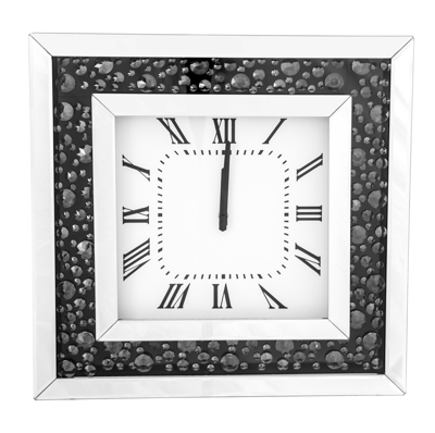 Bevelled Mirror Floating Crystal Wall Clock