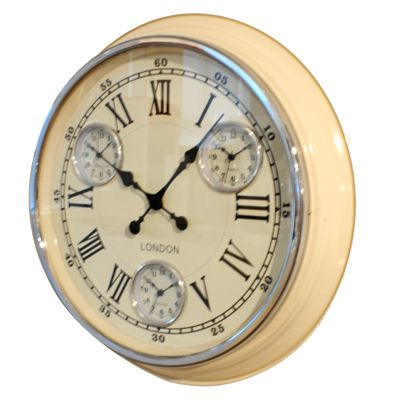 Time zone world wall clocks multiple time zones buy online for Dual time wall clock
