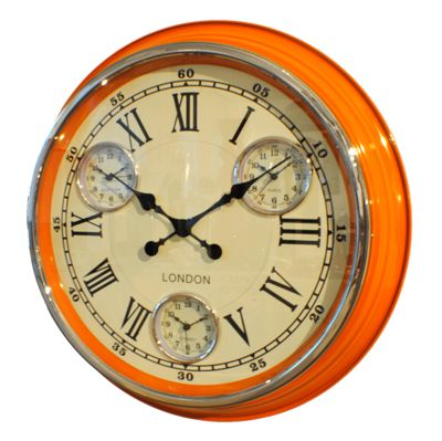 Modern Vintage Time Zone Wall Clock Orange