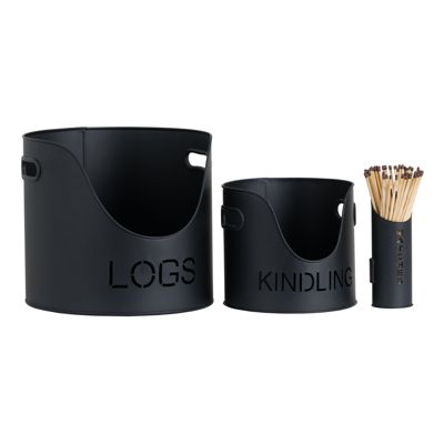 Logs & Kindling Buckets + Matchstick Holder Black