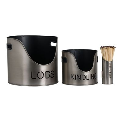 Logs & Kindling Buckets + Matchstick Holder Pewter