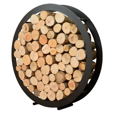 Modern Large Round Steel Log Holder Floor Standing