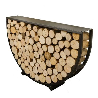 Modern Large Semi Circular Steel Log Store