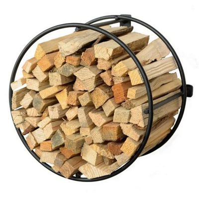 Modern Round Wire Kindling Holder Wall Mounted