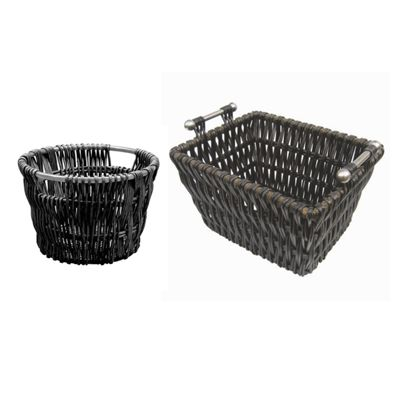 Modern Rectangle Black Willow Log Basket