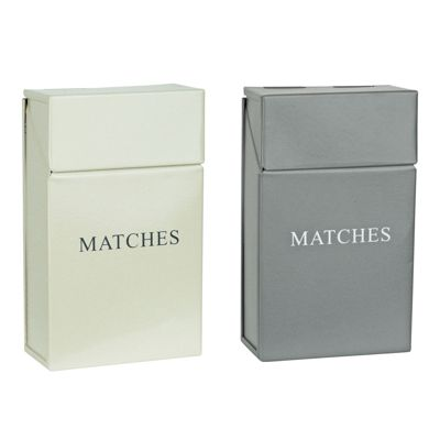 Metal Match Box Holder Cream and Grey