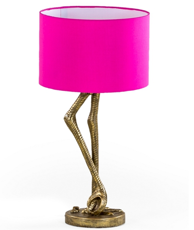 Antique Gold Flamingo Leg Lamp Pink Shade RETURN