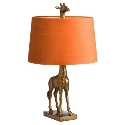 Antique Gold Giraffe Table Lamp Burnt Orange Shade