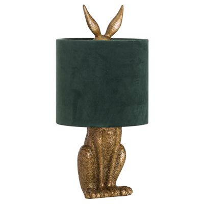 Antique Gold Hare Lamp with Green Velvet Shade