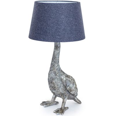 Antiqued Silver Goose Table Lamp with Grey Shade
