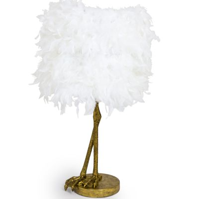 Bird Leg Lamp Gold with White Feather Shade