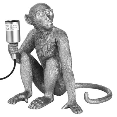 Ringo The Monkey Silver Table Lamp