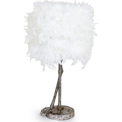 Bird Leg Lamp Silver with White Feather Shade