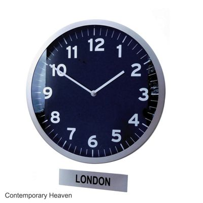 Custom Office Timezone Wall Clock with Sign Black