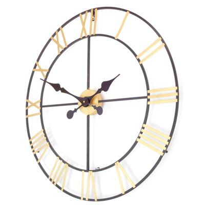 New Haven Gold and Black Skeleton Wall Clock