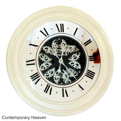 Cream Mirrored Antique Style Large Gear Wall Clock