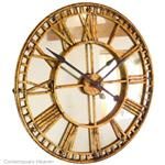Large Antique Mirror Gold Skeleton Wall Clock