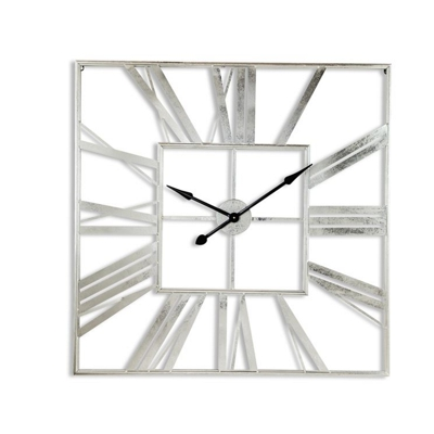 Large Vintage Roman Square Wall Clock Silver