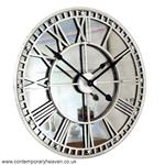 Mirror Silver Iron Roman Skeleton Wall Clock