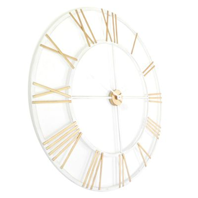 New Haven Gold and White Skeleton Wall Clock