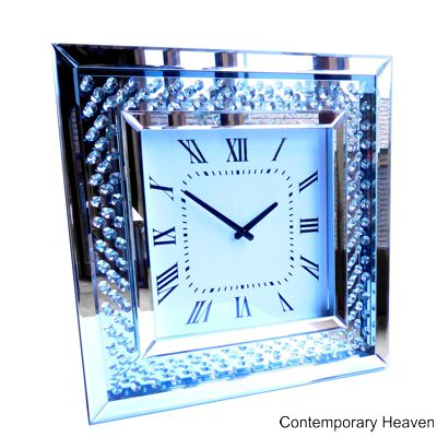 Bevelled Mirror Crystal Glass Wall Clock