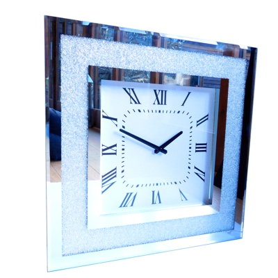Bevelled Mirror Crushed Glass Square Wall Clock
