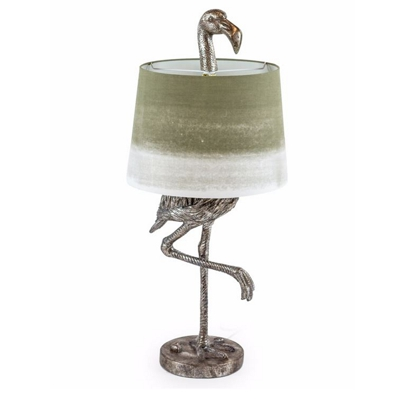 Antique Silver Flamingo Table Lamp Sage Fade Shade