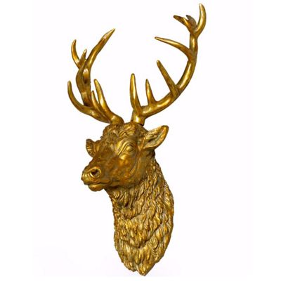 Modern Vintage Gold Stag Wall Trophy Head Large