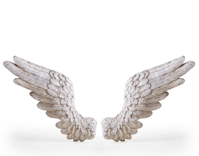Antique White Angel Wings Wall Decor