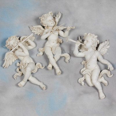 Set of 3 Large Antique White Cherub Wall Figures