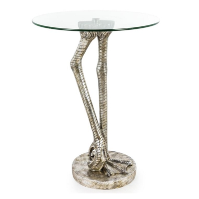 Antiqued Silver Bird Leg Side Table