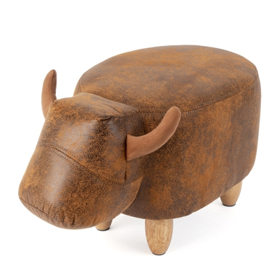 Bull Pouffee Footstool Brown