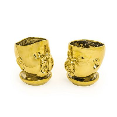 Gold Plated Ceramic Baby Face Pots Set of 2