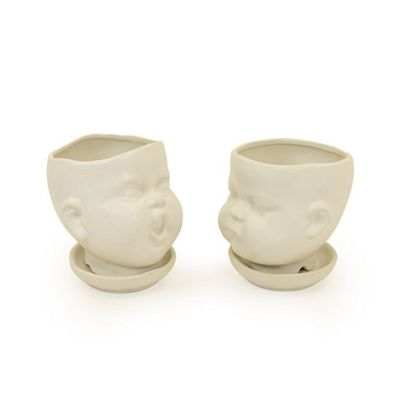 White Ceramic Baby Face Pots Set of 2