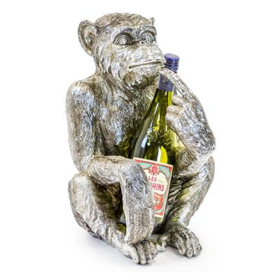 Antique Silver Sitting Monkey Bottle Holder