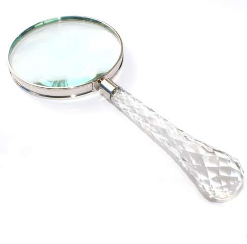 large magnifying glass with glass handle