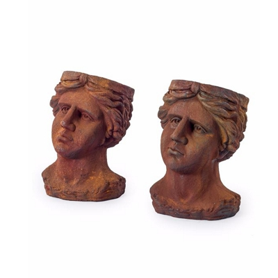 Antiqued Rusted Classical Head Planters Set of 2