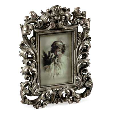 Antique Silver Ornate Fleur Photo Frame