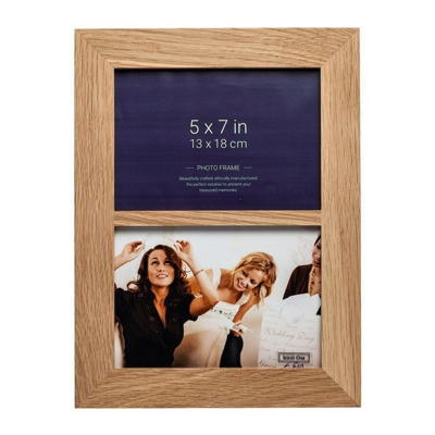 New England Solid Oak Dual Photo Frame