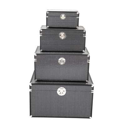 Sparkle Glitter Black Storage Boxes Set of 4